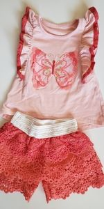 GUC butterfly tank and lace short set